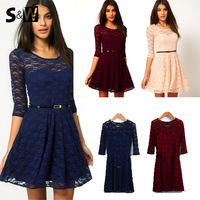 Hot Sale! 2014 New Women Summer Casual Dresses Sexy Spoon Neck 3 Colors 5 Sizes Three Quarter Sleeve Skater Lace Dress With Belt