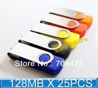 25PCS X 128MB Bulk Sell Swivel Memory Flash USB Drive True Capacity Promotion gifts pendrives Stick
