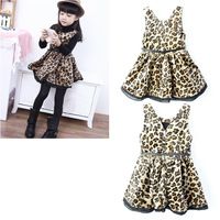 Girls Leopard Vest Velvet Dress Autumn and Winter Clothing for Girls Free Shipping Retail and Wholesale