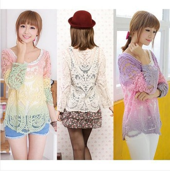 Womens Gradient Colors Sheer Embroidery Floral Lace Crochet T-Shirt Top Blouse