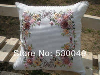 Free shipping 18''x18''  2pcs handmade ribbon embroidery finished pillow cover O012