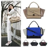 Fashion New 2014 Top Quality Star Style Women Handbag  Leather Messenger Bags Trapeze Bat Wing Smile Bag Women