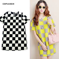 new 2014 Vestido longo womens casual dress above knee ,mini sexy checkered short sleeve loose summer dress free shipping