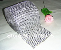 Fashion Plastic Mesh Fabric 24 Rows Shiny Mesh Trimming Rhinestones Banding for Party/Wedding, Silver, No Stones, free shipping