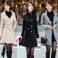 2014 Hot Selling Elegant Slim Woolen Coat,  Brand Outwear Jacket Feminine 3 Colors 1005
