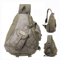 Multi-pockets canvas and leather men sling bag backpack Cool mens messenger bags Free shipping