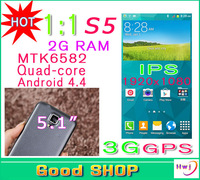 2014 NEW Perfect 1:1 S5 i9600 cell phone 5.1 Inch Android 4.4 MTK6582 Quad Core 2GB RAM Rear Camera 13.0MP 1920x1080 G900 5 GIFT
