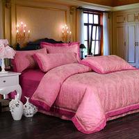 Home textile100%cotton jacquard satin wedding duvet cover set/luxury bedding set/wedding bedding set/bedspread
