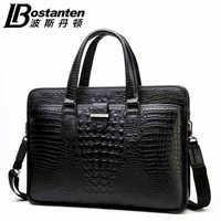 BOSTANTEN high quality portable commercial crocodile pattern natural cowhide Genuine leather briefcase handbag bag for men