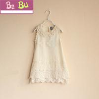 Hot selling! Babu New  kids summer girls Cotton lace  pearl collar sleeveless princess dress,girls summer clothing 5pcs/lot