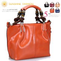 New women leather handbags 2014 Bamboo genuine leather women messenger bags famous brand shoulder bag Fashion women handbag tote