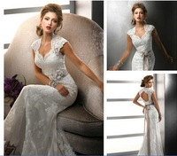 Free Shipping 2014 Cap Sleeve Sheath Popular Tulle and Lace Sweetheart Sexy Backless wedding dress mermaid