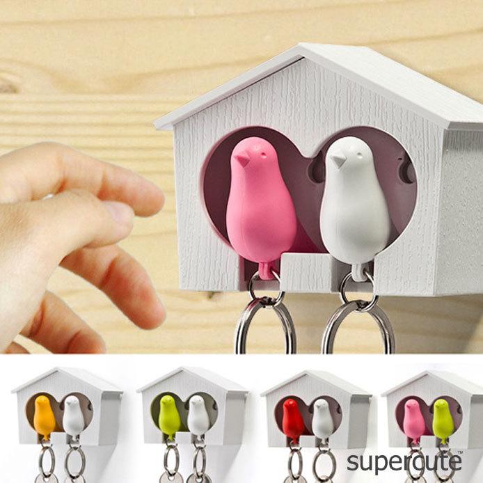BLOOM fashion hot selling high quality key hook collect key ring free shippping Key Holder house+bird hanging couple 273(China (Mainland))