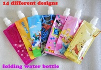20Pieces Free shipping!!Cartoon design Non-toxic foldable bag ,Outside sports drinking bottles