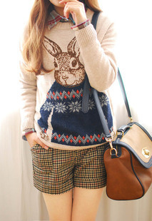 Free shipping in the autumn of 2013 animals Rabbit head  image pullover, warm sweater