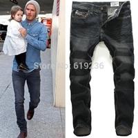 100% Excellent! Black Jeans Men Famous Brand 2014 New Luxury Designer Jeans Man Cotton Denim Straight  Style Pants Plus Size 40