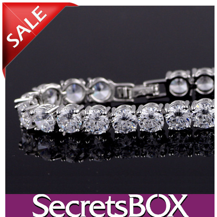 [Free Gift + Free Shipping]Tennis Bracelet with NO.1 White Crystal Zircon, TOP QUALITY, SecretsBOX1342(China (Mainland))