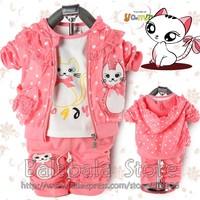 Free shipping 3set/lot new hot children gift Fashion Cute Cat Outerwear+T-shirt+Pants Children/Kids Suit Kids Clothes
