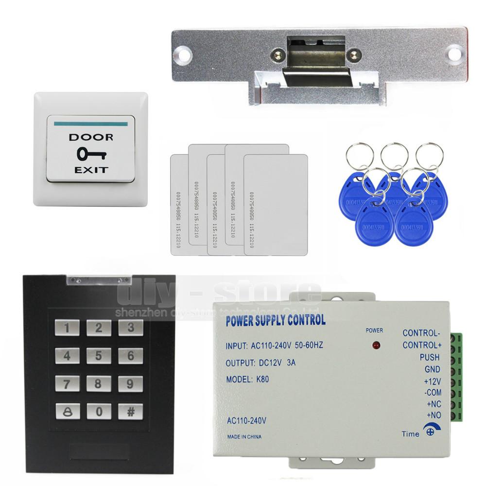 diy rfid 125khz keypad access control security system kit electric strike doo. Black Bedroom Furniture Sets. Home Design Ideas