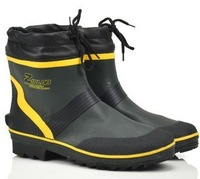 Matt Finish Green Ankle Rubber Work Boot For Men,  Insole Size L,LL XL