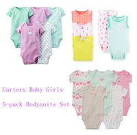 5pcs/lot, Baby Girls Set,Original Carter's Baby Girls Loving Heart Model Bodysuit ,Carters Girls Romper, Freeshipping,IN STOCK