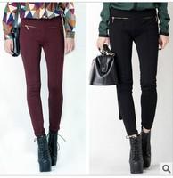 Drop shipping 2013 Autumn European brand womens New Double Zipper High Waist Skinny Slim Pencil Pants
