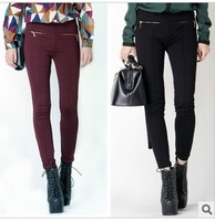 Drop shipping 2013 Autumn European brand womens New Double Zipper High Waist Skinny Slim Pencil Pants