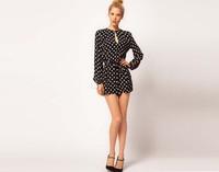 2014 Women High Waist Black Polka dot Jumpsuit With Split In The Back Cutout Long Sleeve Bodysuit Overall Pants Romper 17615