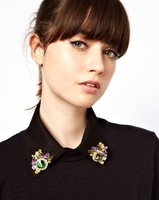 Free Shipping 2013 New Fashion Rhinestone Flowers Collar Pin Lavalier Collar Brooch Bouquet