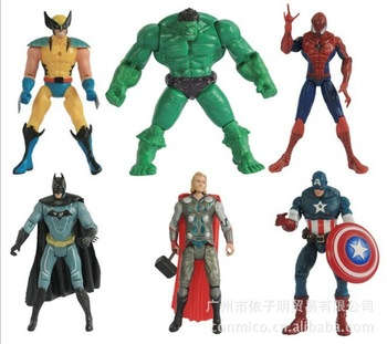 "2013 New Free Shipping The Avengers 5"" Captain America Wolverine Thor Spiderman Batman 14cm Action Figures Toy 6 pcs/lot"