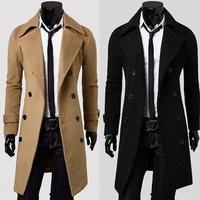 2014 New Brand Winter mens long pea coat Men's wool Coat Turn down Collar Double Breasted men trench coat