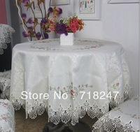 Free Shipping New 180cm Round Elegant 100% Polyester Cross-stitch Embroidery Tablecloth Lace Embroidered Table linen Cloth Cover