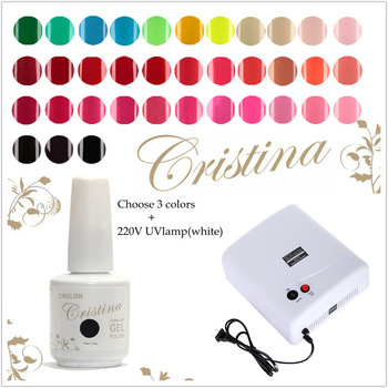 3 Cristina UV Gel Polish Nail Gels+36W 220V Gel Curing Nail Art UV Lamp White(EU Plug) with 4pcs 9W Bulbs