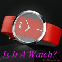 Ladies Red Leather Strap Sapphire Watch Student Quartz Wristwatch for Lovers Thin Fashion Transparent 200m Waterproof  DOM