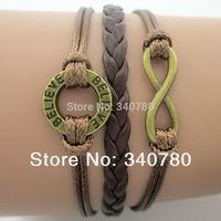 New Hot Infinity, Believe Bracelet, Karma bracelet Antique bronze silver Imitation Leather  wrap Bracelet 5pcs/lot free shipping