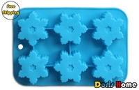 Free Shipping silicone snowflake shaped form for the cake / jelly / soap maker / mold tray