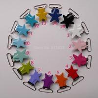 140pcs 1'' 25mm 14 Colors Assorted Enamel Star Suspender Clips