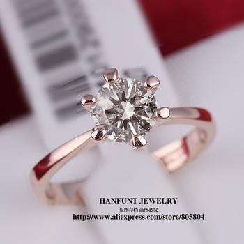R014 18K Real Gold Plated Princess Cut Six Claw 1 Carat 6mm Zircon Wedding Ring Austrian ...