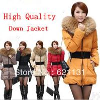 New Fahion 2014 The Winter Jacket luxury large fur collar slim medium-long thickening Down Coat women long overcoat  Lace Wool