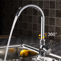 Kitchen Sink Faucet  with Plumbing Hose Chrome Solid Brass Mixer Tap