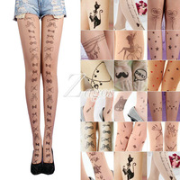 Fashion Women's Trendy Sexy Tattoo Pattern Temptation Sheer Pantyhose Tights Stockings Leggings Wholesale BD0066