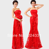 Beauty Garment  red lace formal dress tube top dress formal long marriage design evening dress formal dress dinner