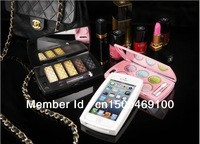 NEW Arrive!fashion!PC lady powder compact case for iphone 5 black Brow powder series,white blush series,pink eye shadow