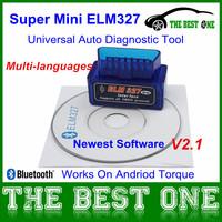 2014 Super Mini Elm327 Bluetooth V2.1 Interface ELM 327 OBD2 / OBD II Universal Auto Diagnostic Scanner Works On Android Torque