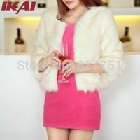 TOP763 Free Shipping Women's Fashion Long Sleeve Soft Faux Fur Coat Jacket Fur Overcoat Vogue Women Fur Outerwear