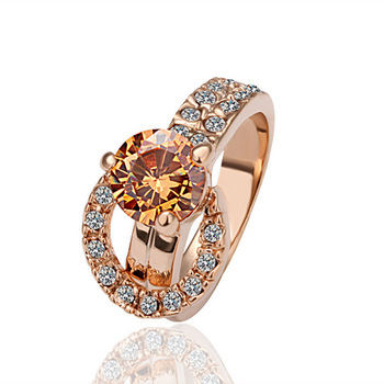 18K Rose Gold Plated Rhinestone Rings Make with Swarovski Elements crystal  Sparkling Solitaire for Wedding Rings FREE SHIPPING