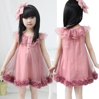 2013 Summer lovely Cute Kids Girl's Sleeveless Chiffon Flowers Hem Lace ruffles Princess Tutu mini Dresses For Casual Party
