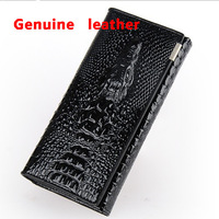 New European style famous classic retro design personalized crocodile embossed women Genuine leather long Purse/ girl's Wallet
