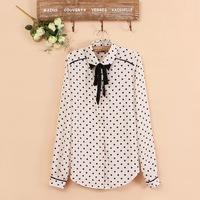 Butterfly Collar Polka Dot Print Long Sleeve Chiffon Shirt Gentle Sweet  Blouse      J20