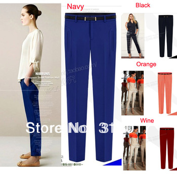 S-3XL Free Shipping Plus Size british style summer casual chiffon trousers pants knitted pants pencil pants with belt # K666